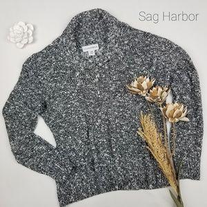 💝 Sag Harbor - Black Silver Cowl Sweater Large